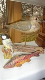 Beeswick Porcelain Bird, Vintage Wood Carved Fish