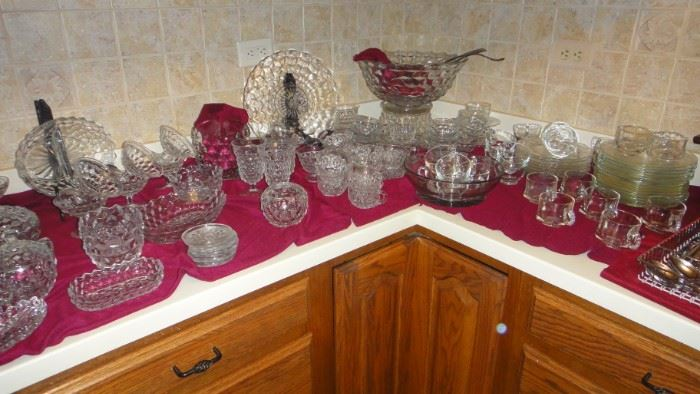 "Fostoria, ""American"",   Fostoria Punch Bowl with Pedestal and cups"