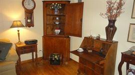 Primitive Corner pine cabinet, Seth Thomas Wall Clock, Bose Stereo, Drop top desk