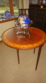 Semi Precious stone world globe, Drop leaf Table