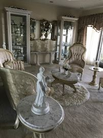 Curio Cabinets, Sofa, Chair, Side Tables, Statues