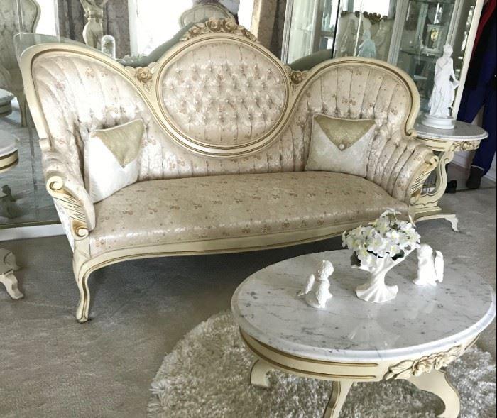Kimball Parlor Sofa, Marble Top Coffee Table