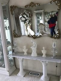 Beautiful Mirror, Marble Top Pedestals, Statues
