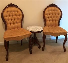 Pair Victorian Rose Back Chairs with Victorian Petite marble top table