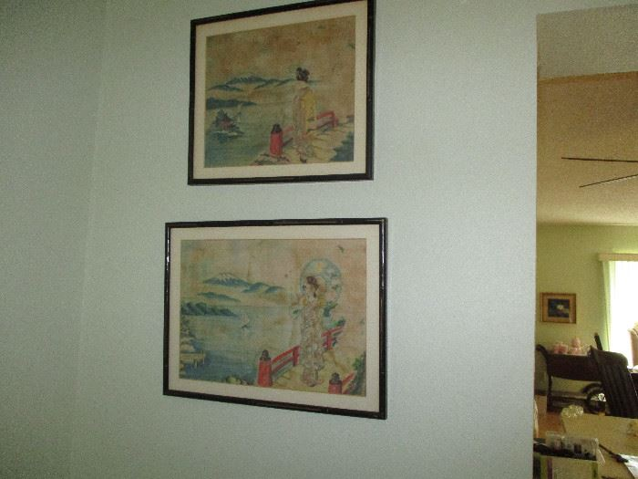 Japanese prison of war in Philippines painted these pictures on a hankerchief