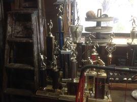 Bowling trophies, bags, balls etc