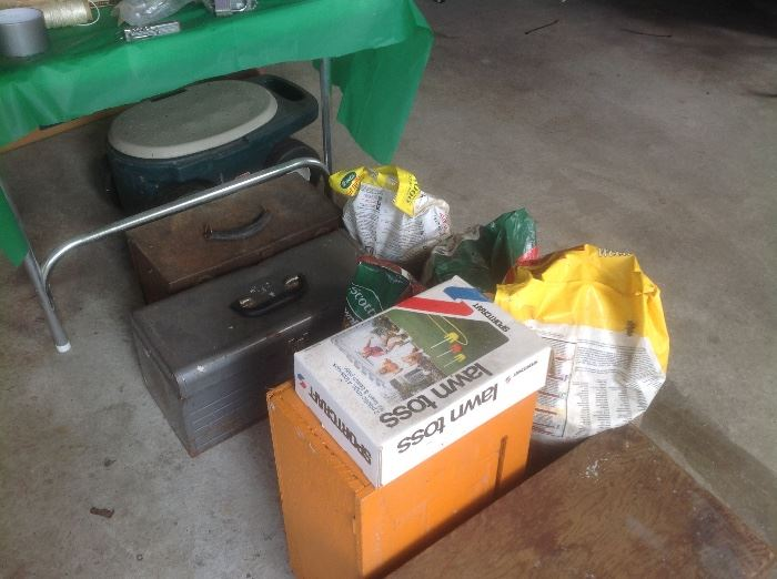 Lawn game, lawn product, tool boxes, garden caddy
