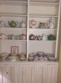 "Living Room: The bookcase on the right has a nice selection of tea pots and more china.  All of the china is ""priced out."""