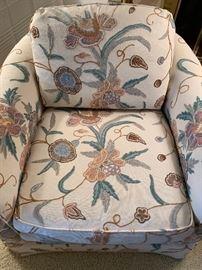 Custom upholstered Baker club chairs