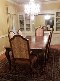 EASTH high end dining room, 2 captain chairs, four side chairs, two leaves.  Leather seats with fabric,  GORGEOUS.  Original retail cost $12,000.  J&K price much lower!