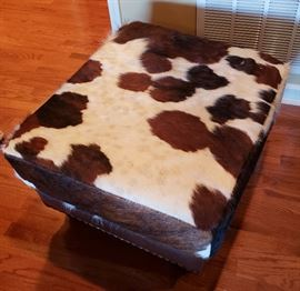 Cow hide/leather ottoman