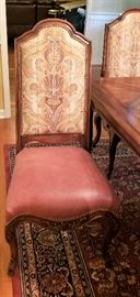 Dining side chair (4), leather/fabric, nail heads.  Rug on floor is NOT FOR SALE