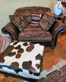 Chair and a half, leather & fabric, cow hide square ottoman