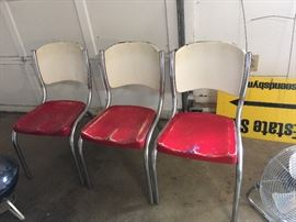 #74 (3) Vintage Red/Cream Metal Dining Chairs $30 each $90.00