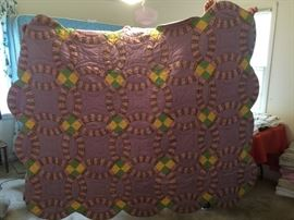 #77 Purple Double Wedding Ring Scalloped Edge twin hand quilted quilt $75.00