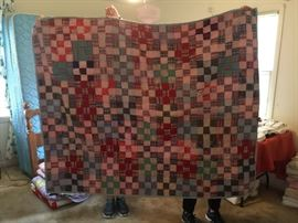 #79 Scrappy Square Tied Throw Lap quilt $35.00