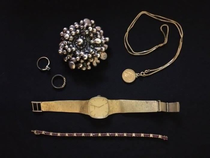 Movado 14K Watch, Ruby and Diamond Tennis Bracelet,  Gold Rings, Sterling and Costume Jewelry