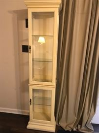 #1		Cream-Painted Display Cabinet  15.5x11x72	 $75.00