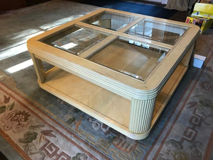 #6Wood - Distressed Coffee Table w/4 glass inserts  37x16.5 $65.00