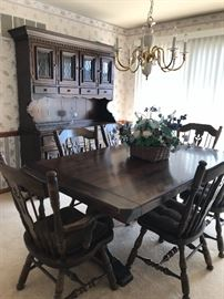 Pine Dining Set- Table, chairs, Hutch,