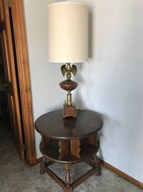 Swivel table and Eagle lamp