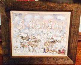 Rare Five Cent Jones Winter Scene Painting