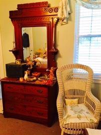 Antique Walnut Granite Top Dresser