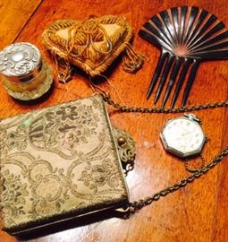 Antique Purse, Hair Comb, Pocket Watch and Victorian Beaded Heart