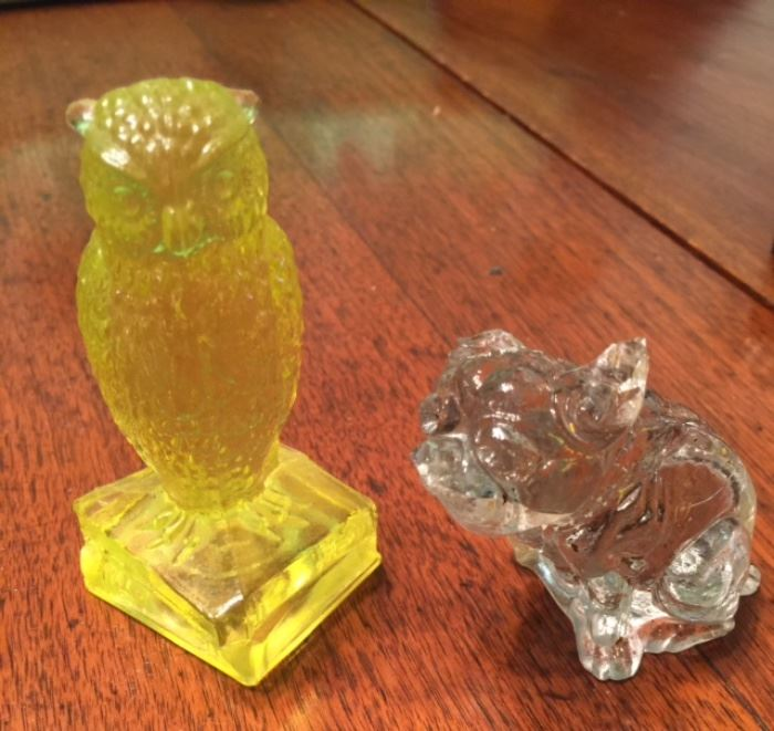 Vaseline Owl and Glass Dog