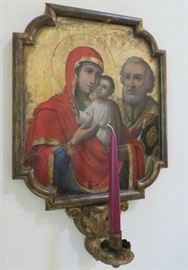 """Mid 19th Century Oil on gold leaf on wooden panel, wooden frame, """"The Mother of God (Umilenie) and the Evangelist Matthew"""" Icon"""