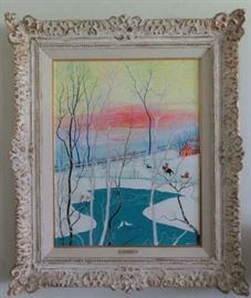 """Artist Signed Kay Ameche (American 1904-2005) """"Winter in all It's Glory"""", Original Oil On Canvas"""