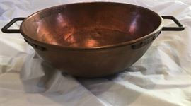 """Very Large Brass Kettle Bowl - Huge (about 10lbs) 23"""""""