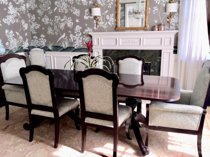 British Colonial style formal double pedestal dining table with 8 chairs