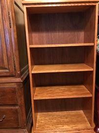 Narrow, small wood bookshelf