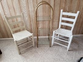 Accent chairs and stand.