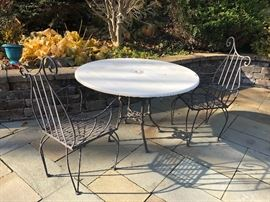 patio table, 2 wrought iron chairs
