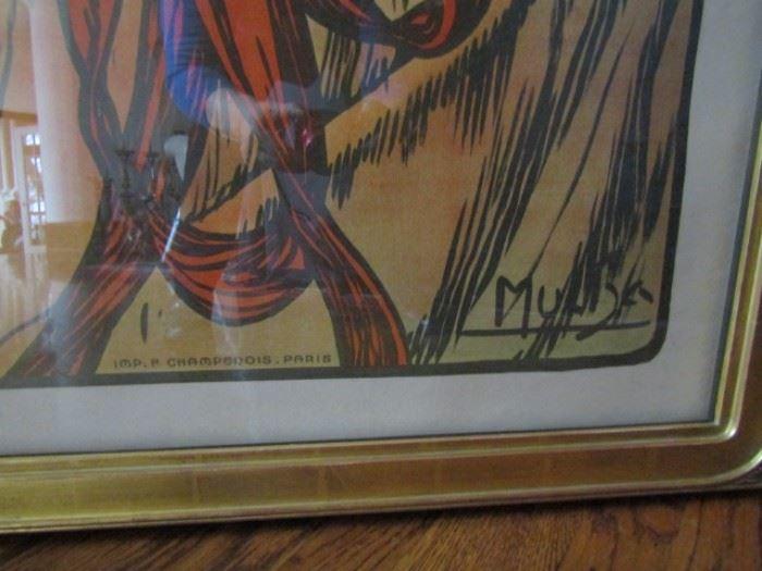 Mucha signature on poster