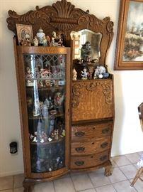 Antique Side by Side Tiger Oak Secretary Desk.  Curved Glass Shelves So full of Storage!