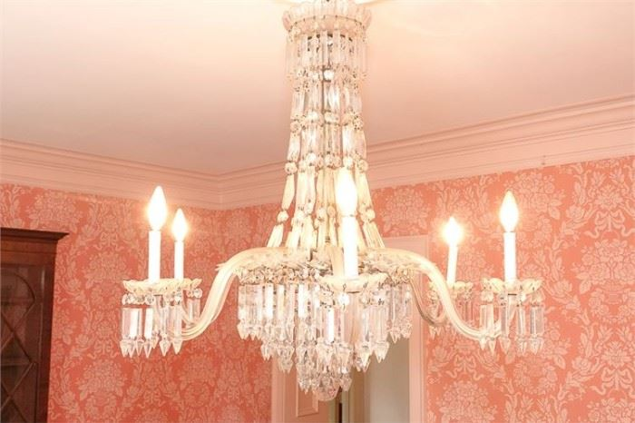 6. H Antique WATERFORD Six 6 Arm Chandelier