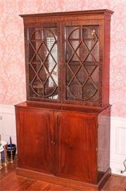8. H Antique Georgian Bookcase Cabinet