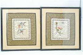 9. H Set of Two 2 Framed Silk Embroideries