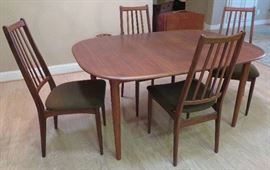 Mid-century modern dining table and six (6) chairs