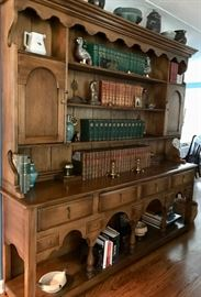 "Vintage wooden bookcase, hutch, Welsh Cupboard. Buffet. Two pieces. Measurements: 86"" length, 17"" width, 84"" height. Top is 52"", bottom is 32"". Great condition."