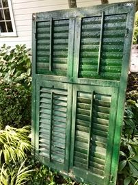 Old green shutter. Can be used as a decorative piece. Shabby chic piece.