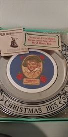 Red Rose pewter plate