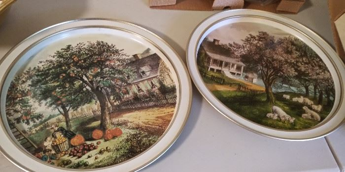 Currier & Ives tin plates