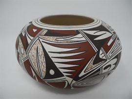 Native American Hopi-Tewa Hand Coiled Pottery Vase by Joy Navasie