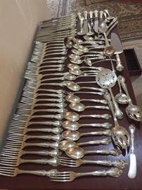 Antique Sterling Silver Gorham Flatware Set  - 79 Pieces