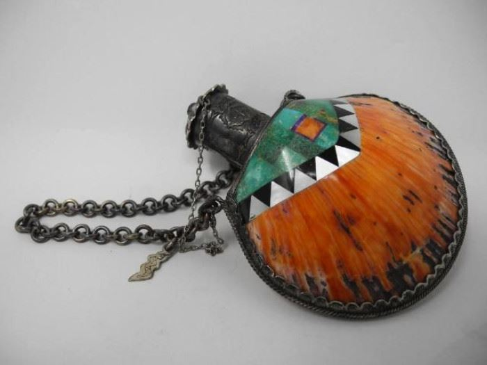Magnificent Handmade Southwestern Silver and Spiney Oyster Turquoise, Onyx, Coral and Sugilite Inlay Flask Made by Benny and Valerie. Stamped marker mark Aldrich