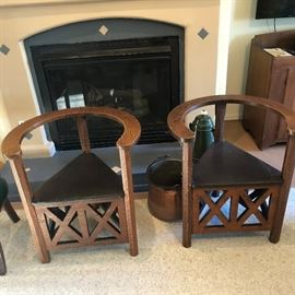 Cockfighting  chairs  with chamber to hold birds,  leather, beautiful condition.